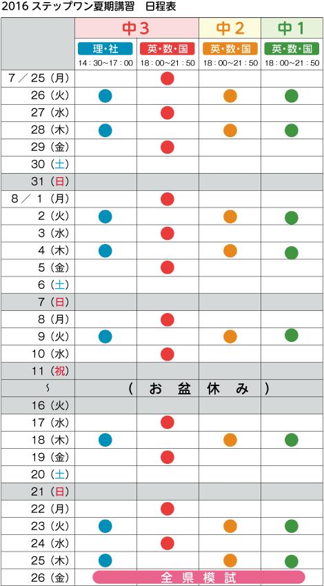 2016ステップワン 夏期講習 日程表